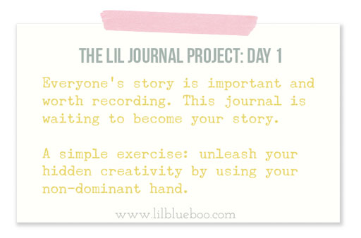 The Lil Journal Project Day 1 via lilblueboo.com #theliljournalproject