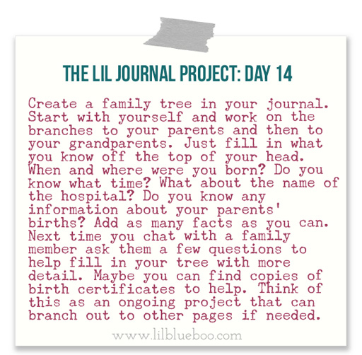 The Lil Journal Project Day 14 (Family Tree) via lilblueboo.com