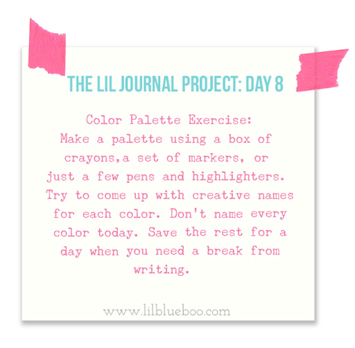 The Lil Journal Project Day 8 (Color Palettes) via lilblueboo.com #theliljournalproject