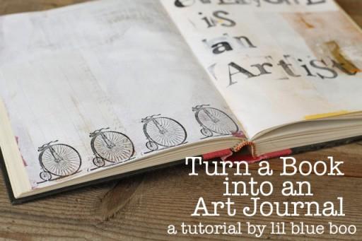 Turn a Book into an Art Journal via lilblueboo.com