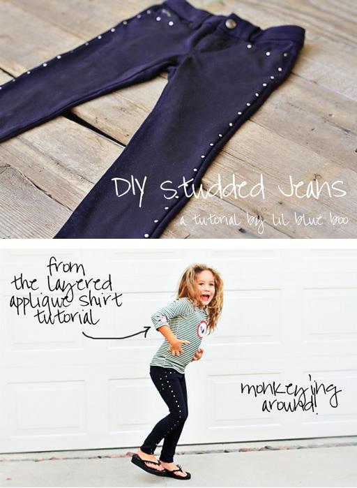 DIY Studded Jeans or Leggings Tutorial via lilblueboo.com