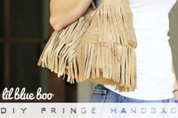 diy suede fringe handbag via lilblueboo.com