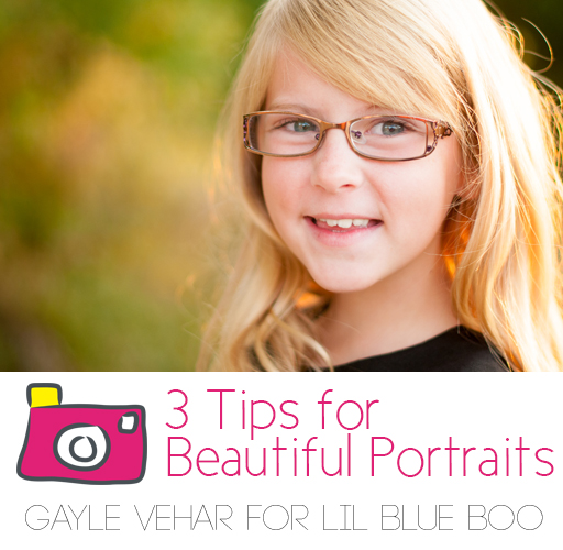 Tips for taking beautiful portrait photography #photography by Gayle Vehar for lilblueboo.comPhotographing Beautiful Portraits
