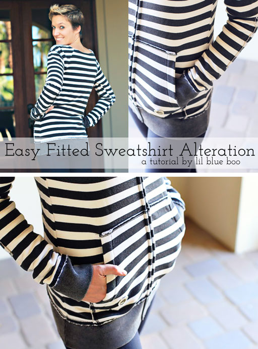 DIY Sweatshirt refashion tutorial via lilblueboo.com