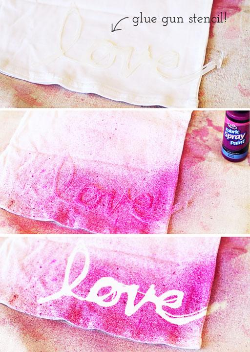 DIY Hot Glue Stencils / Stenciling (on clothing) via lilblueboo.com