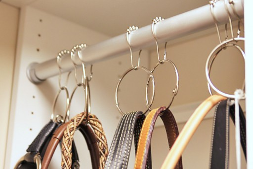 Handbag and Accessory organization with rings via lilblueboo.com