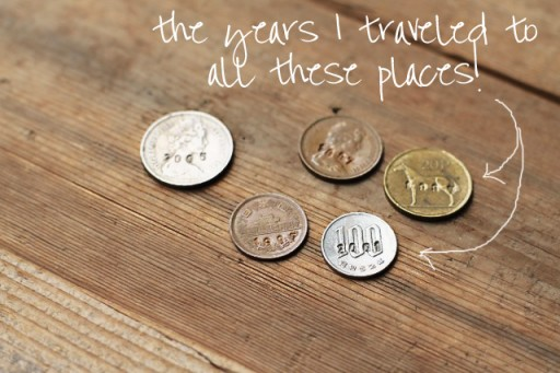 Tutorial (Stamped Travel Dates into Coins) via lilblueboo.com