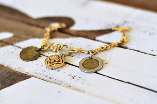 How to Make a Coin Charm Bracelet via lilblueboo.com