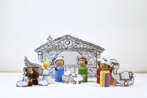 Nativity Peg Doll Set tutorial with PDF download via lilblueboo.com