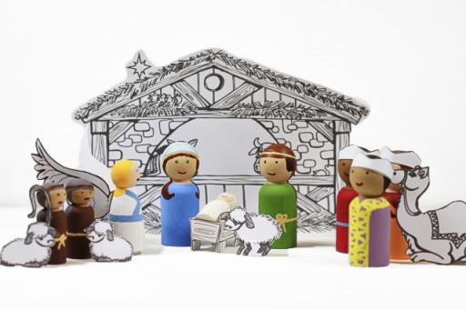 Christmas Peg Doll Set tutorial with PDF download via lilblueboo.com