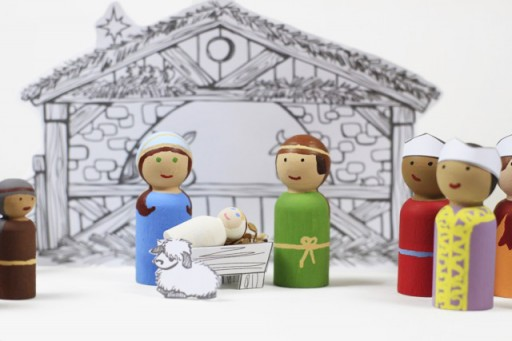Baby Jesus Peg Doll with Joseph and Mary via lilblueboo.com
