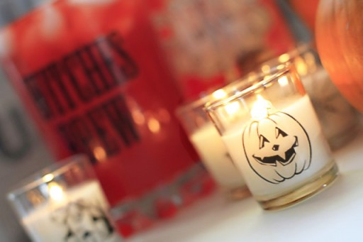 DIY Halloween Party Decor Ideas - Glass Clings on Votives via lilblueboo.com