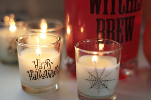 DIY Halloween Party Decor Ideas - Packing Tape Transfer via lilblueboo.com