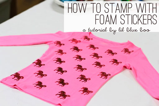 stamping with foam stickers tutorial via lilblueboo.com
