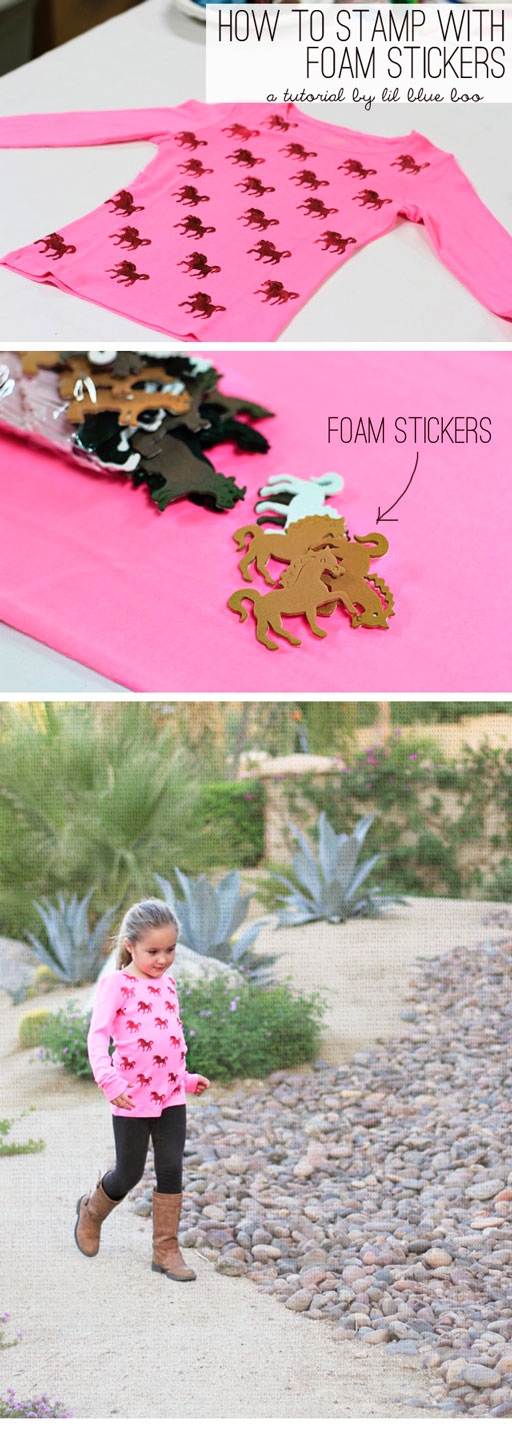 How to stamp paper and fabric with those cheap foam stickers via lilblueboo.com