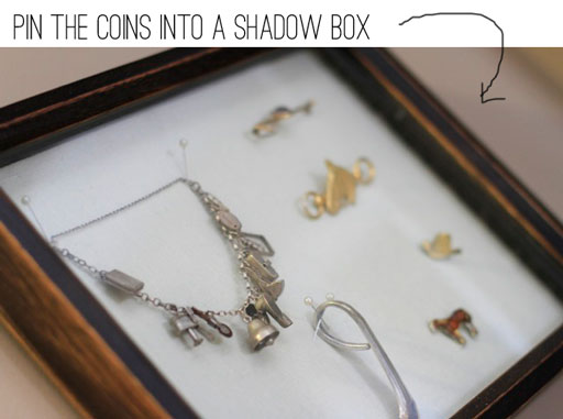 Using a Shadow Box to Display Jewelry or Coins via lilblueboo.com