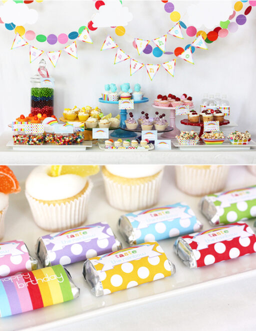 Rainbow Party Printable via lilblueboo.com