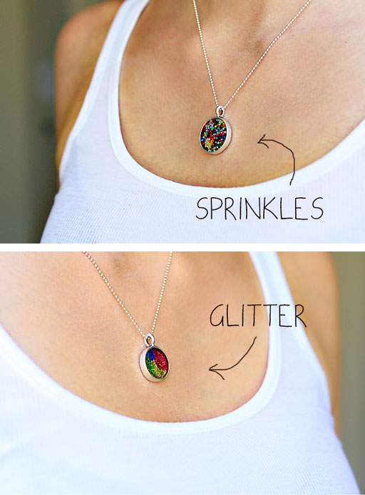 Make a Sprinkle and Glitter Filled Resin Pendant Tutorial via lilblueboo.com  #party #partyfavors