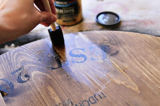Varnishing the Wine Barrel inspired Tray via lilblueboo.com