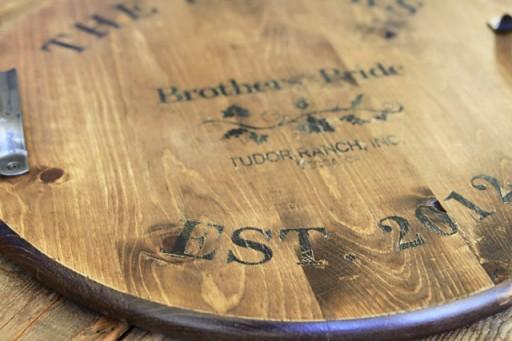 Wedding Gift Ideas: wine barrel inspired tray via lilblueboo.com