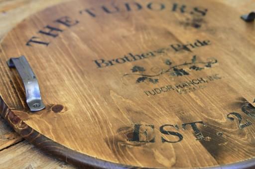 DIY Home Decor: vintage distressed Wine Barrel Top via lilblueboo.com
