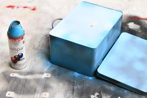 Spray paint metal box from Home Goods via lilblueboo.com