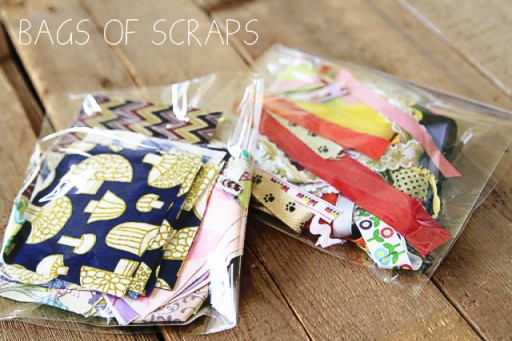 What to put in art box: fabric scraps and ribbon scraps via lilblueboo.com