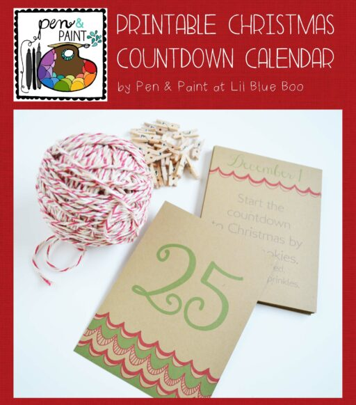 printable christmas countdown calendar by pen and paint via lilblueboo.com