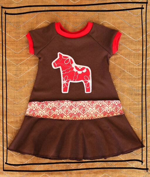 Holiday Dala Horse Short Sleeve Layering Dress via lilblueboo.com