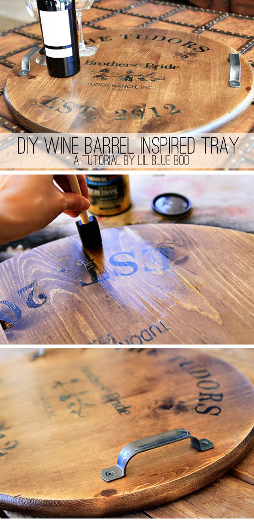 DIY Wine Barrel Inspired Tray or Table via lilblueboo.com #wedding #gift #crafts #diy