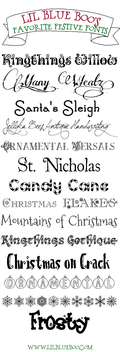 Favorite FREE festive holiday fonts! Click for links via lilblueboo.com