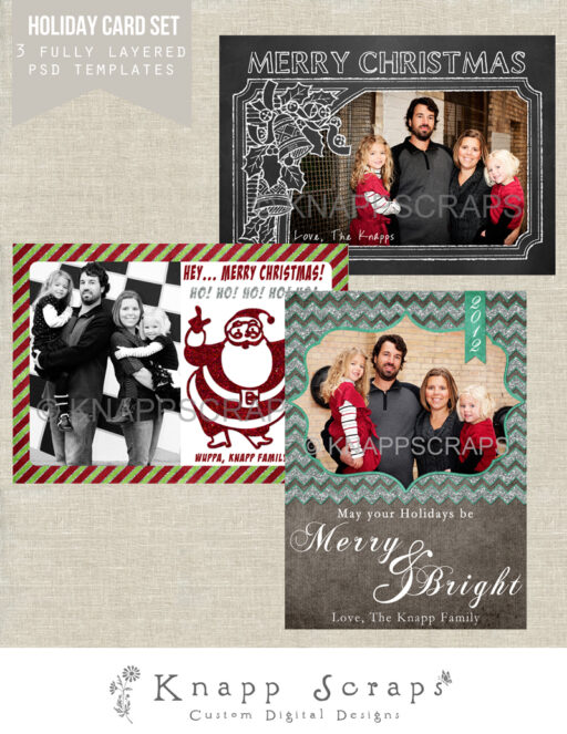 holiday christmas card psd photo templates by knappscraps via lilblueboo.com