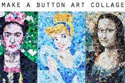 how to make a button art collage via lilblueboo.com