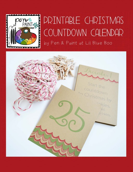 printable christmas countdown advent calendar with an activity each day by pen and paint via lilblueboo.com