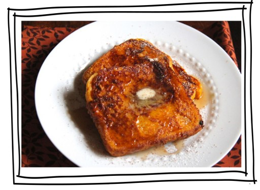 Great holiday breakfast recipe: pumpkin french toast via lilblueboo.com