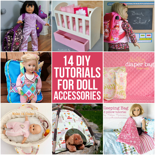 14 diy tutorials for doll accessories (crib, purse, bedding, backpack and more) via lilblueboo.com