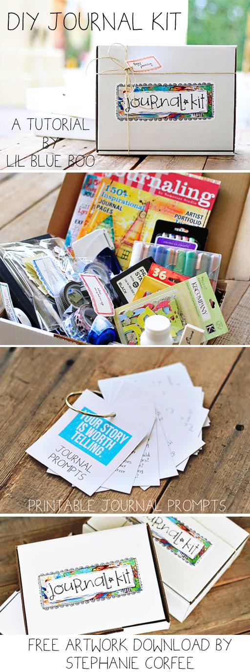 The Gift of Journaling (DIY Journal Kit and Artwork Download) via lilblueboo.com #gift #artjournal