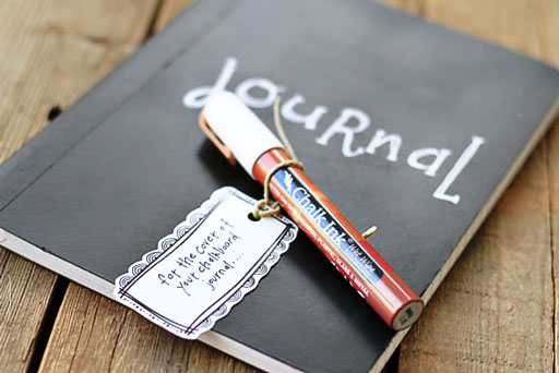 Make a Chalkboard Journal (Chalk Ink) via lilblueboo.com