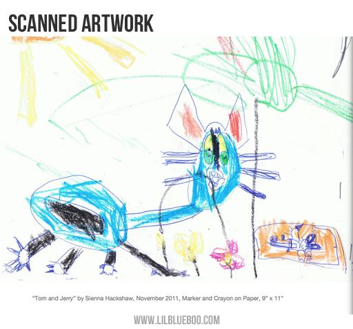 Photo book ideas: Scanned artwork via lilblueboo.com