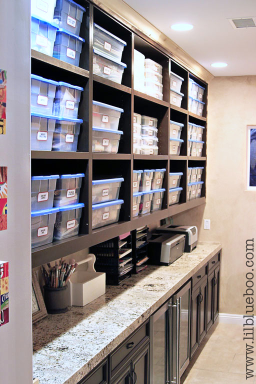 Craft and Art Supply Storage (with free vintage label printable) via lilblueboo.com