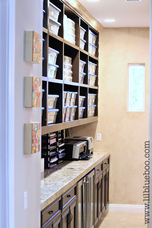 Craft Room Organization Ideas (with free vintage label printable) via lilblueboo.com