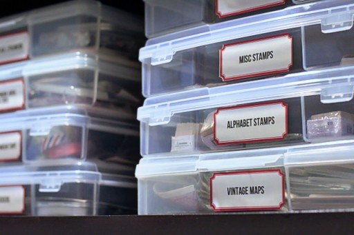 How to store stamps and art supplies (with free vintage label printable)  via lilblueboo.com