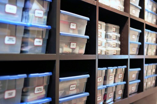 How to Store Scrapbook and Craft Supplies  (with free vintage label printable) via lilblueboo.com
