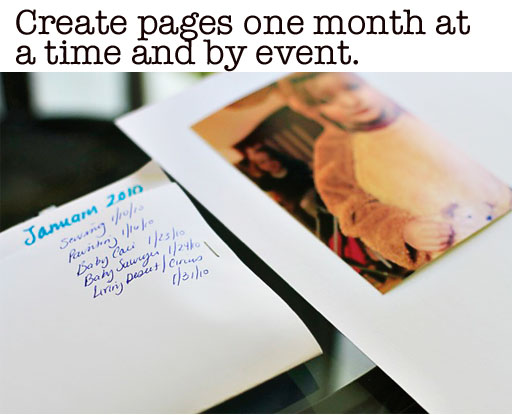 Organizing Photos for Albums and Scrapbooks via lilblueboo.com