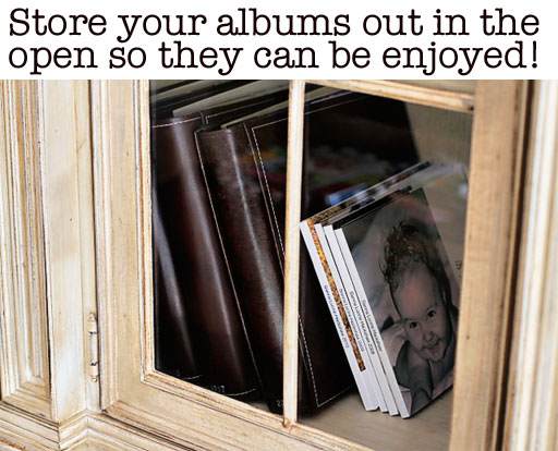 Storing Photo Albums via lilblueboo.com