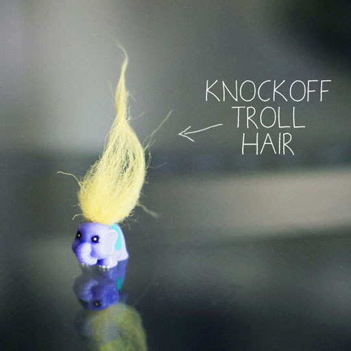 Squinkie with knockoff troll hair via lilblueboo.com
