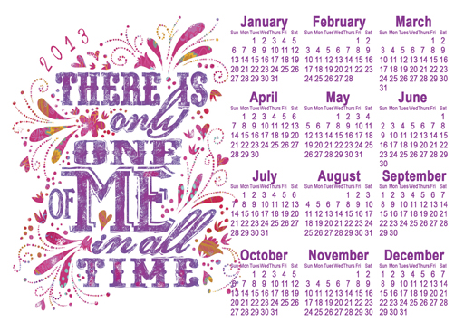 2013 Only One of Me Free Year at a Glance Printable Calendar via lilblueboo.com