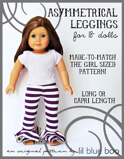 American Girl Sized Asymmetrical Leggings PDF Pattern (Girl Sized Pattern Also Available)  via lilblueboo.com