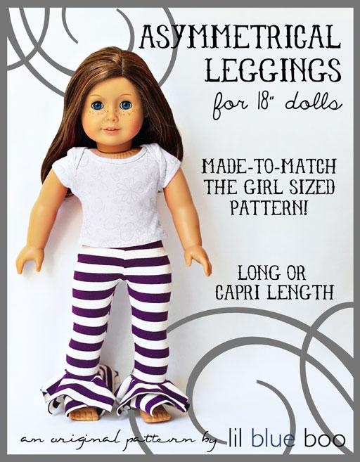 American Girl Sized Asymmetrical Leggings PDF Pattern (Girl Sized Pattern Also Available)  via lilblueboo.com