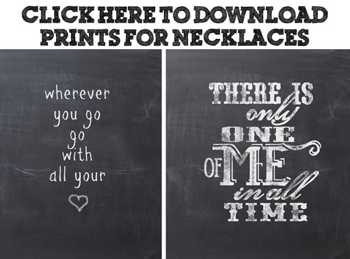 Free chalkboard prints for necklaces via lilblueboo.com